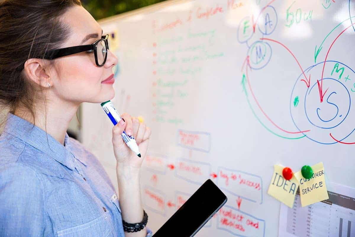 Young busineswoman reading something on whiteboard in office